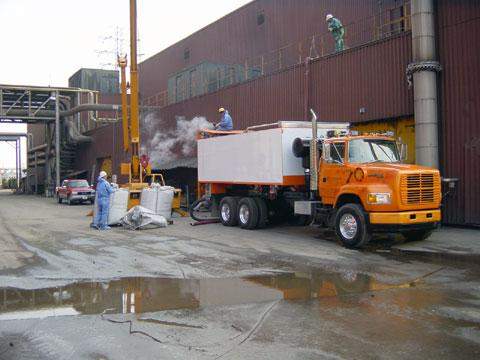 Filling sand filters at a water treatment plant